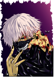 a custom artwork of an anime frictional character who is an one eyed ghoul, also known as eyepatch