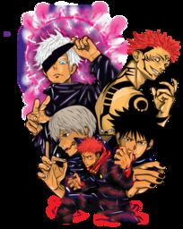 a custom artwork of an anime frictional character; megumi fushiguro, yuji itadori, satoru gojo, sakuna, toge inumaki