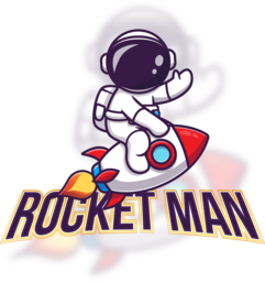 Illustration of a man on a Rocket