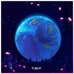 A curated illustration with a theme of outer earth