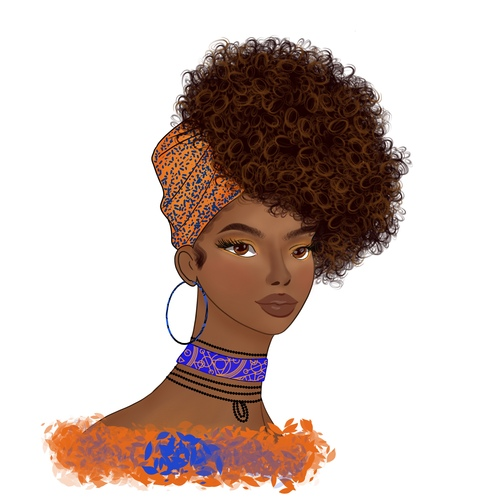 African woman tying head wrap