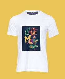 Depicts having consistent and deep affection for someone  or something/ White unisex T-shirt /100% combed organic cotton