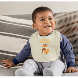 Multi-layered fabric absorbs drools and spills and gentle on baby's skin with Hook and Loop closure.