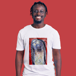 An abstract artwork of a face in different wonders   Unisex White T-shirt   100% Combed Organic Cotton Jersey   175g