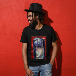 An abstract artwork of a face in different wonders   Unisex Black T-shirt   100% Combed Organic Cotton Jersey   175g