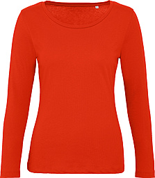 Red  long-sleeve female t-shirt